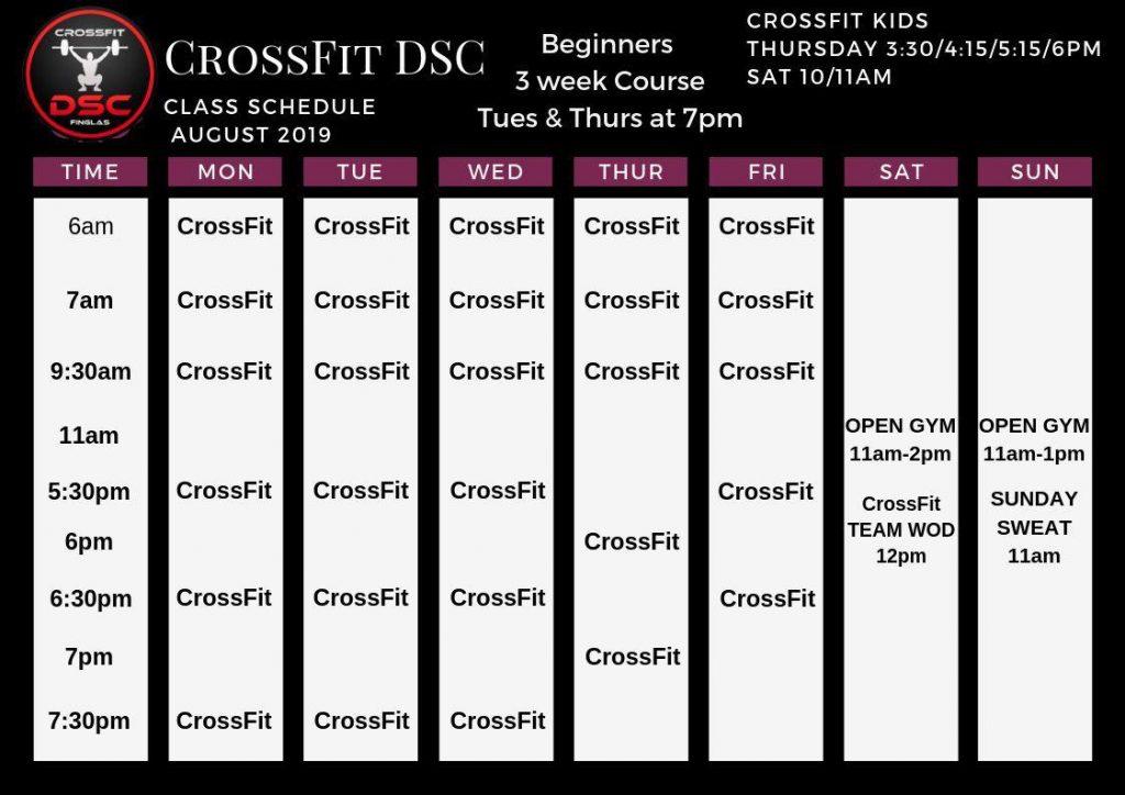 crossfit dsc class timetable august 2019